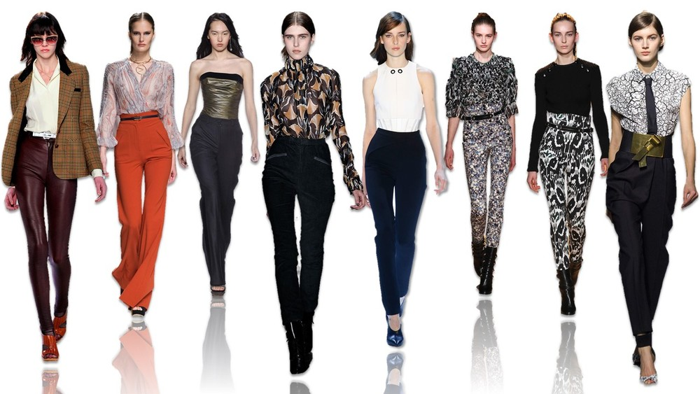 Click image to enlarge. Fall 2015's key high-waisted looks on the runway, from left to right: Rodarte, Zimmermann, TopShop Unique, Wes Gordon, Jason Wu, Isabel Marant, Isabel Marant and Vionnet .