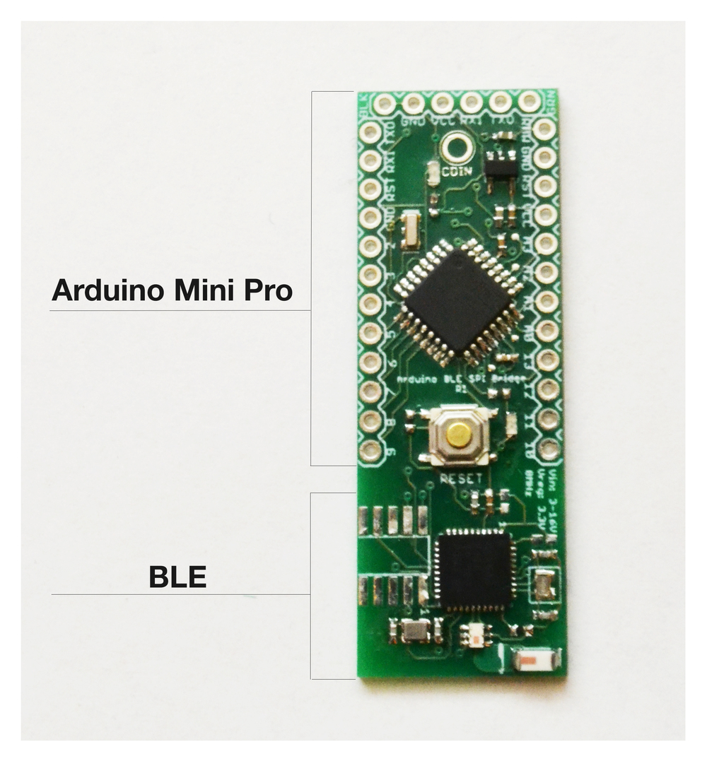 Coin Arduino-BLE board, proudly designed and manufactured in the USA.
