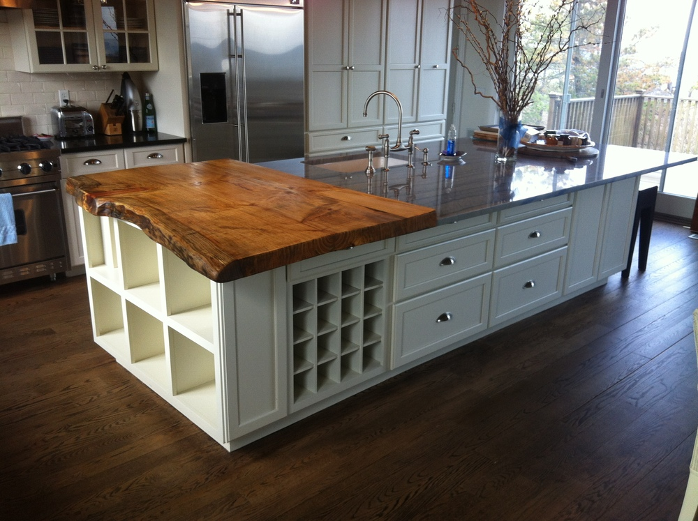 Live-Edge Spruce slab. Kitchen Island countertop. Source