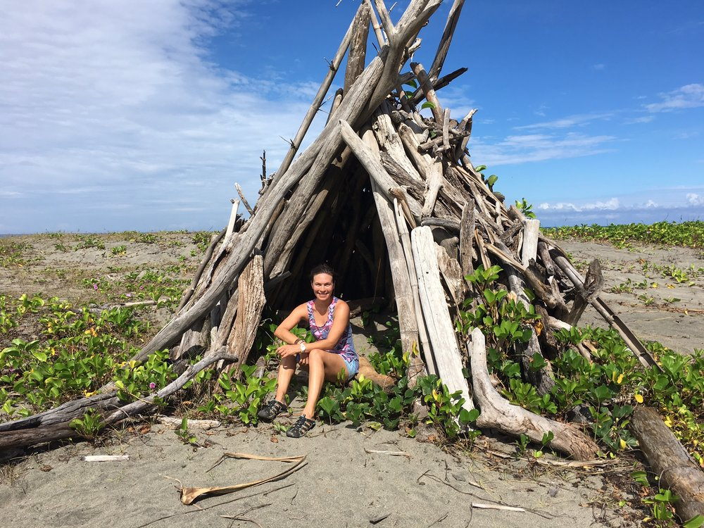 Driftwood teepee.  You can write me at: Jessi Teich, 1 Driftwood Lane, Somewhere on the beach in the Fiji Islands... ;)