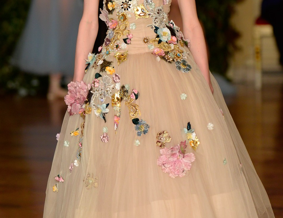 Pretty flowers on ethereal Dolce and Gabbana dress