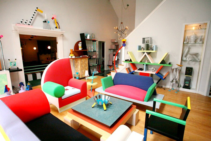 Apartment containing many classic Memphis design pieces