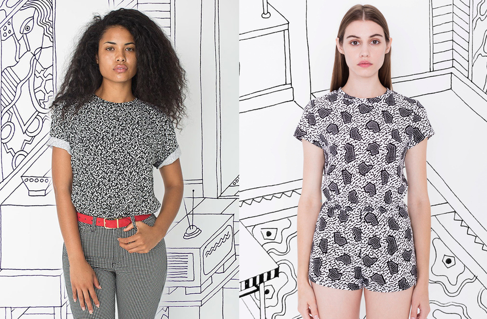 American Apparel line, with patterns by one of the original Memphis Group members