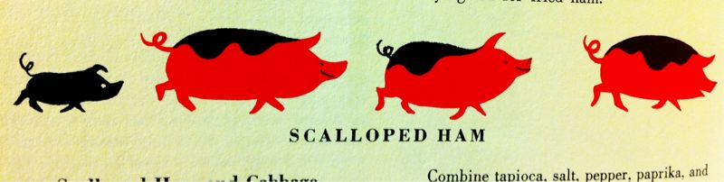 illustrations from my mom's James Beard Fireside Cookbook (c) 1949.  I think the little black one trailing behind would make a great tattoo!
