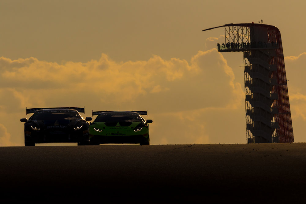 Lamborghini Super Trafeo series running into the sunset during Lone Star Le Mans 2015 weekend © Grease Man Photography ©
