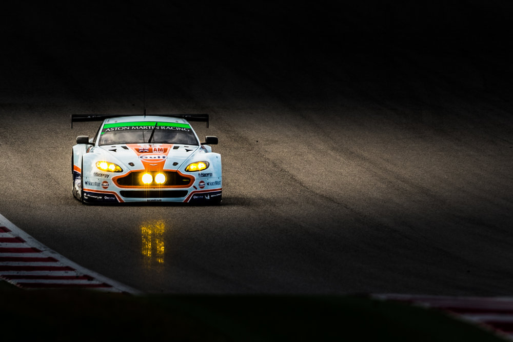 Aston Martin Racing in the Gulf livery hitting the track during FIA WEC 6hrs of Circuit of the Americas 2015 © Grease Man Photography ©