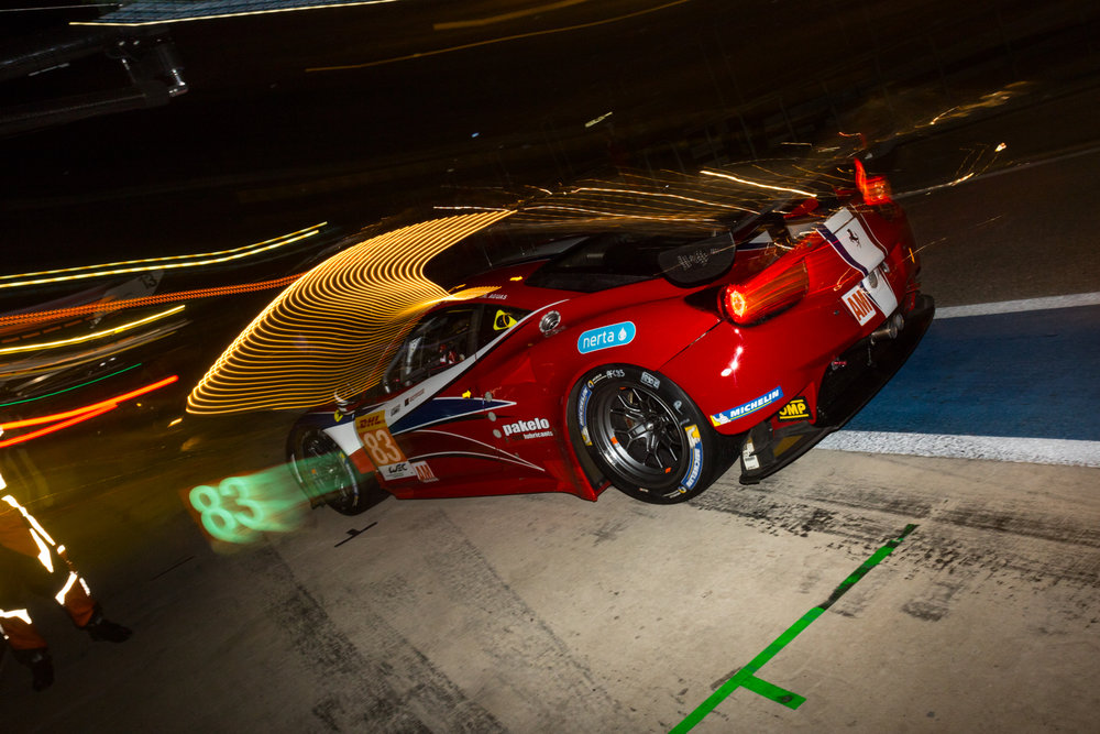 No. 83 AF CORSE Ferrari 458 Italia LMGTE-AM comes in for adjustments during FIA WEC 6h of the Circuit of the Americas at Circuit of the Americas, September 17, 2016