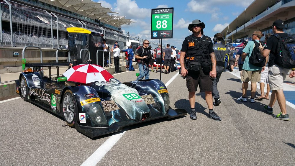 I'm rarely in front of the camera...The Grease Man seen here during the IMSA Fan Pit Walk during Lone Star Le Mans at Circuit of the Americas...Photo credit - Diego Donamaria of Austin, TX