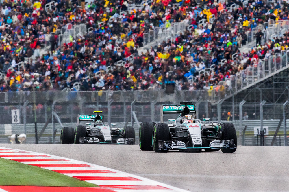 Mercedes AMG Patronas Silver Arrows driven by No. 44 Lewis Hamilton & No. 6 Nico Rosberg show their dominance at COTA during F1 USGP 2015