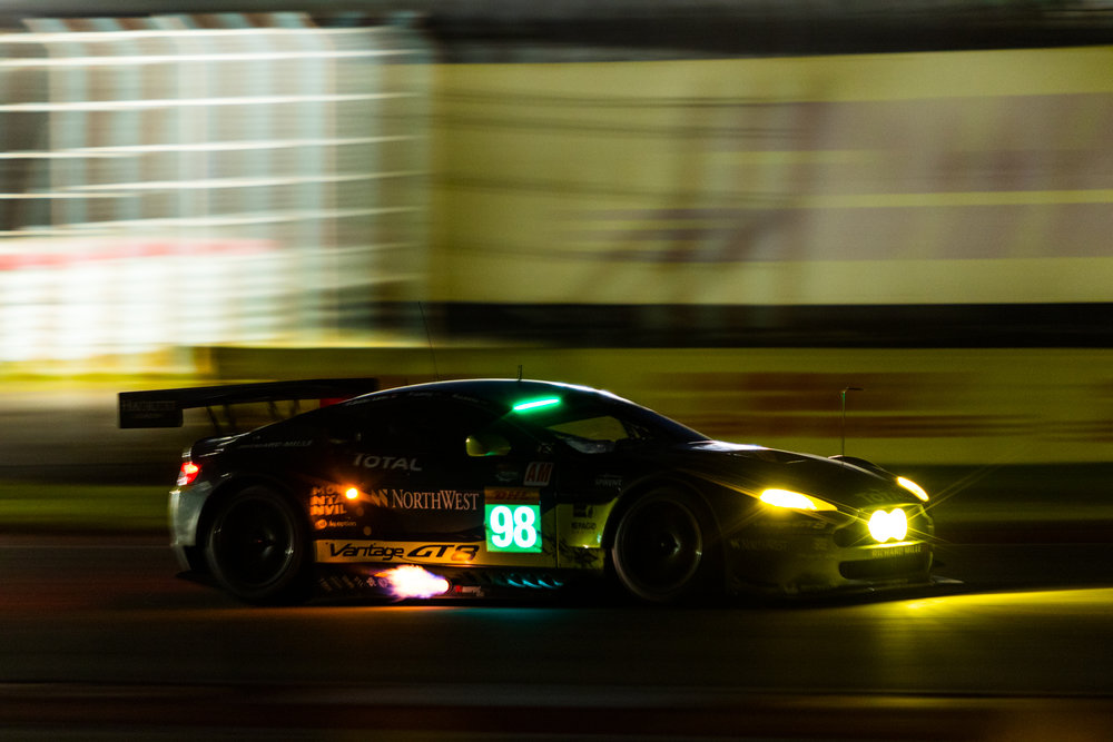 No. 98 Aston Martin Racing Aston Martin V8 Vantage LMGTE AM spitting flames during FIA WEC 6h of the Circuit of the Americas 2016 at Circuit of the Americas