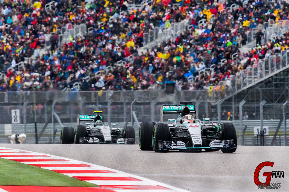 Mercedes AMG Petronas F1 Team Silver Arrows dominating the competition during F1 USGP 2015 at Circuit of the Americas