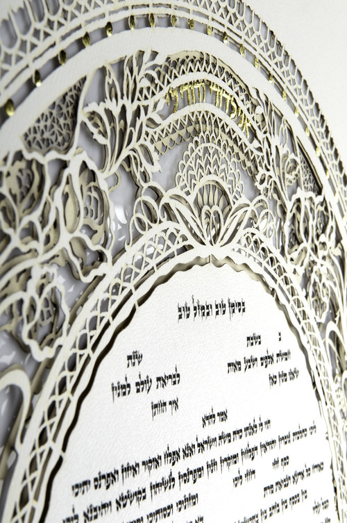 Round text on Paper cut Ketubah