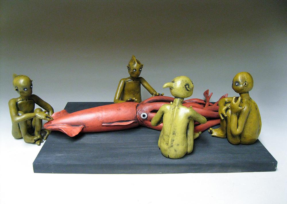 """""""The Squid Encounter""""   7""""h x 21.5""""w x 12.5""""d"""