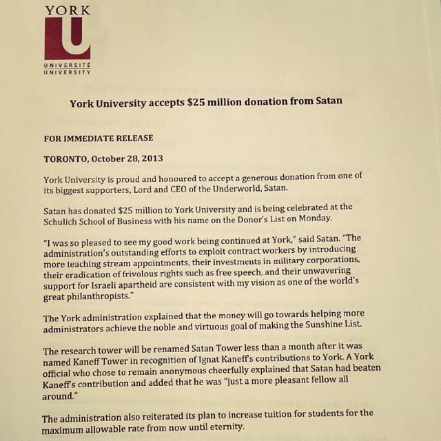 Speak of the devil!  York University  accepts $25 million donation from Satan?! Hell yes! Happy #Halloween  #Yorku !