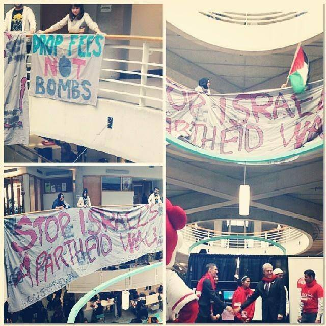 SAIA drops a banner over launch of  #YorkCares  United Way campaign.  #YorkDoesntCare  until it divests from Israeli Apartheid.