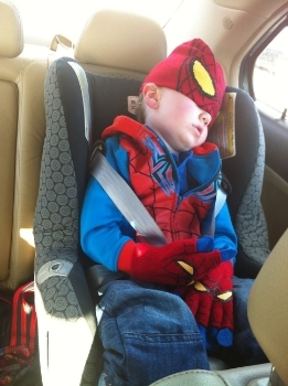Even superhero helpers need to sleep