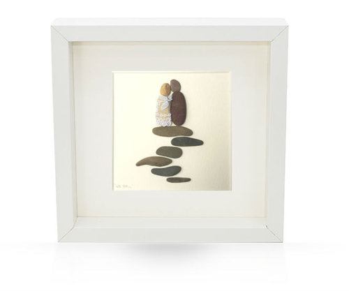 Irish Pebble Art Framed Picture Wedding Day Mr Mrs Unique