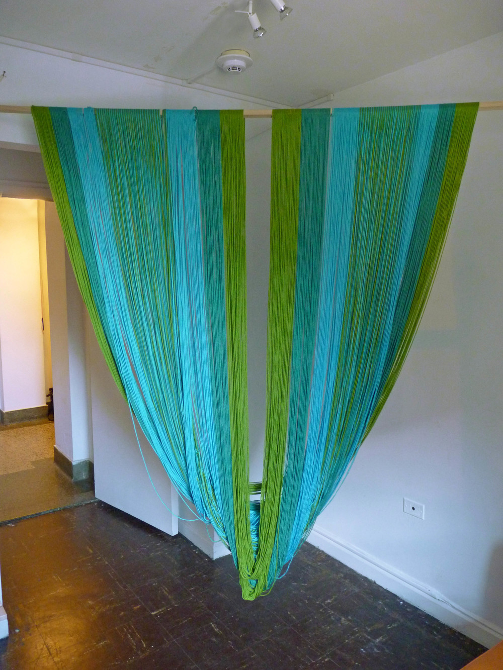 Corners for Seasons Summer, 2015, Acrylic yarn, wood, 7' x 6'