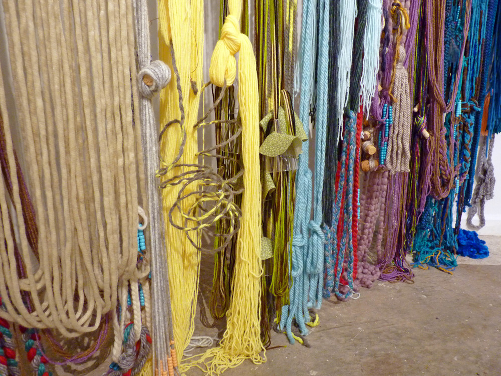 Teen Baleen (detail), 2015, Yarn with fabric, wood and metal, 7' x 4' x 11'