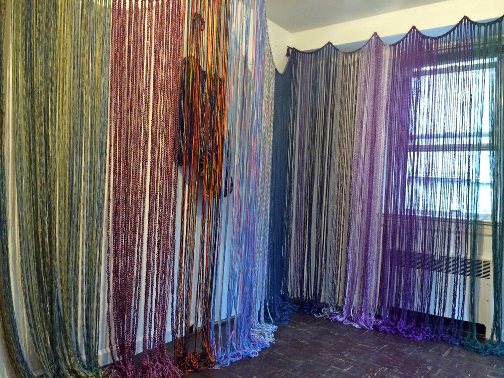 Baleen, 2014, Yarn with wood and metal, 9' x 12' x 8', (Installation)