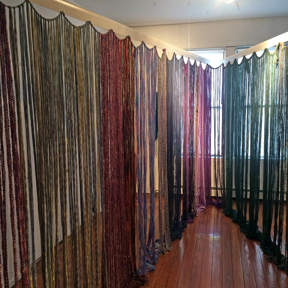 Baleen, 2014, Yarn with wood and metal, 9' x 12' x 8', (Alternate installation)