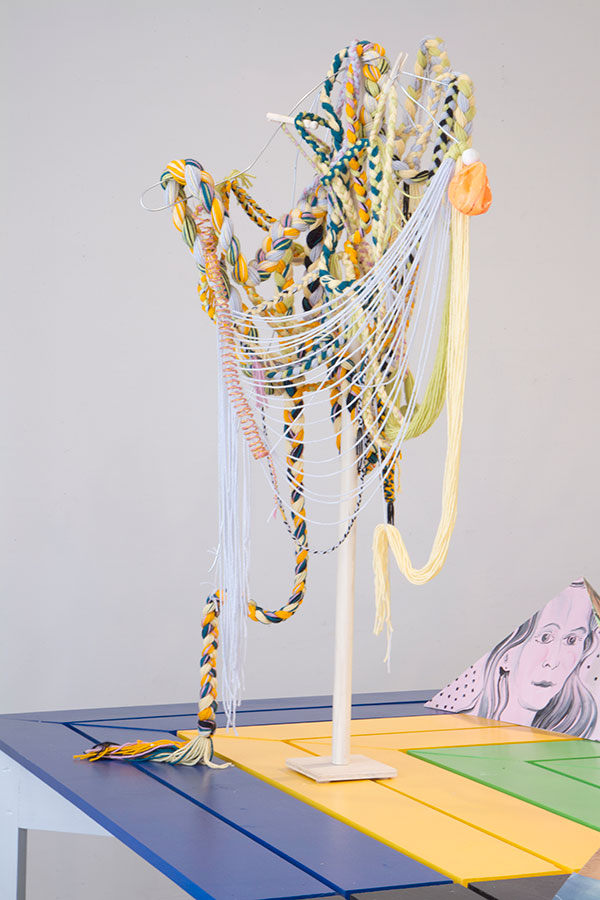 "Untitled (Post), 2014, Acrylic yarn, wood, metal, plasticine and plastic, 50"" x 30', from The Communal Table, June 2014, curated by Björn Meyer-Ebrecht"
