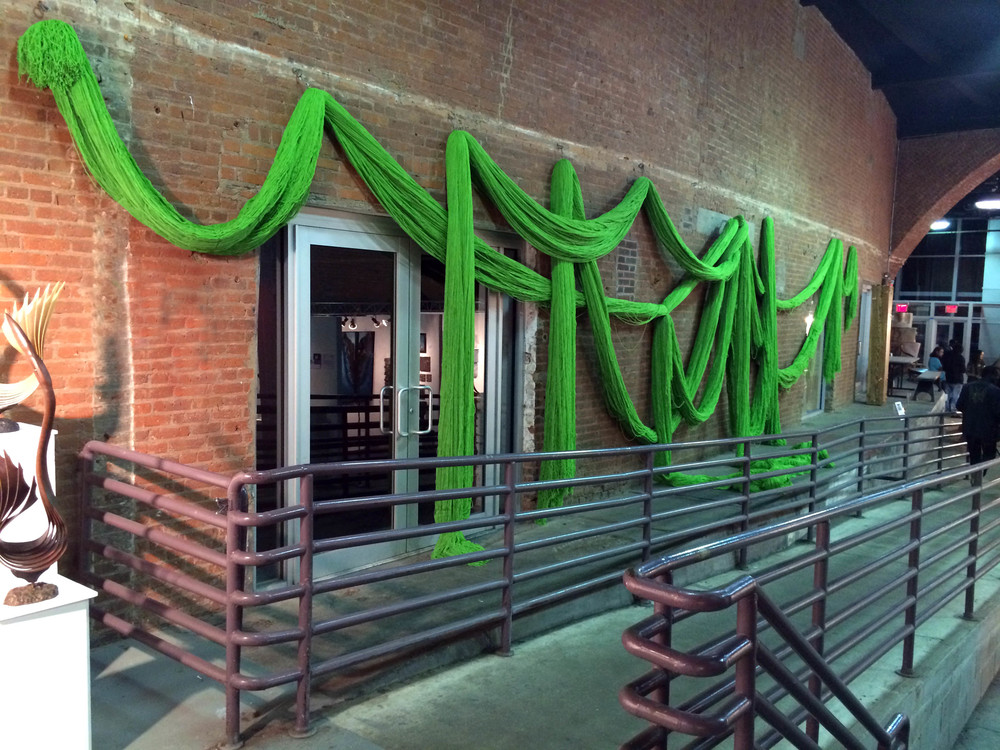Thirty Pounds Lime (from TRIM), 2011-2014, Acrylic yarn, 14' x 45' (dimensions variable)
