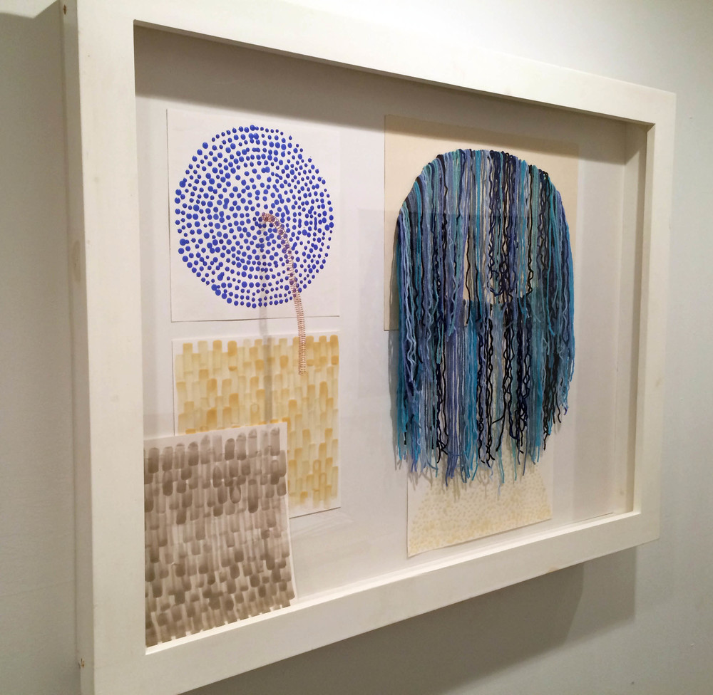 "Five Untitled Drawings, 2013-2014, Encaustic with copper wire and acrylic yarn. 3 12"" and 2 16"" pieces"