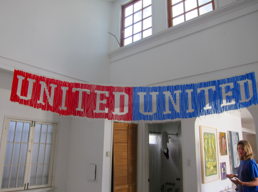 UNITEDunited, 2013, Plastic beads and nylon cord, 9' x 1'
