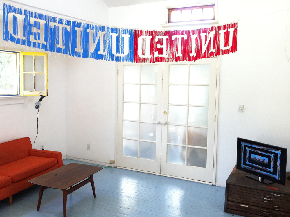 UNITEDunited, 2013, Plastic beads and nylon cord, 9' x 1' (Installation view)