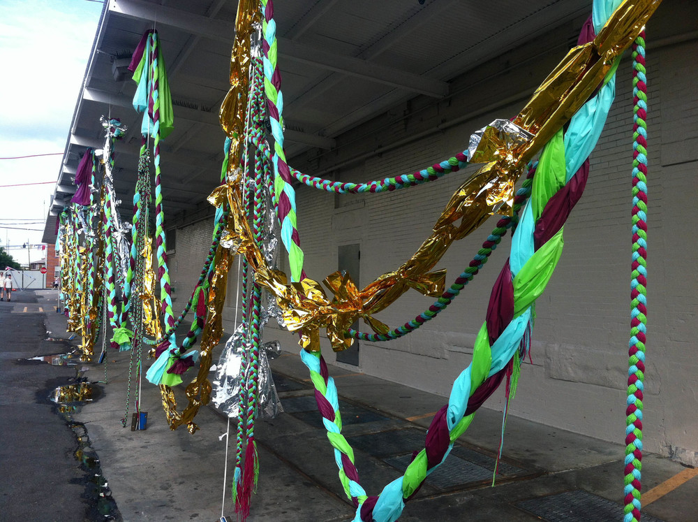 Mother Shipton's Cave (Petrifying Well), 2013, Plastic, mylar, yarn, mixed media, 125' x 10'