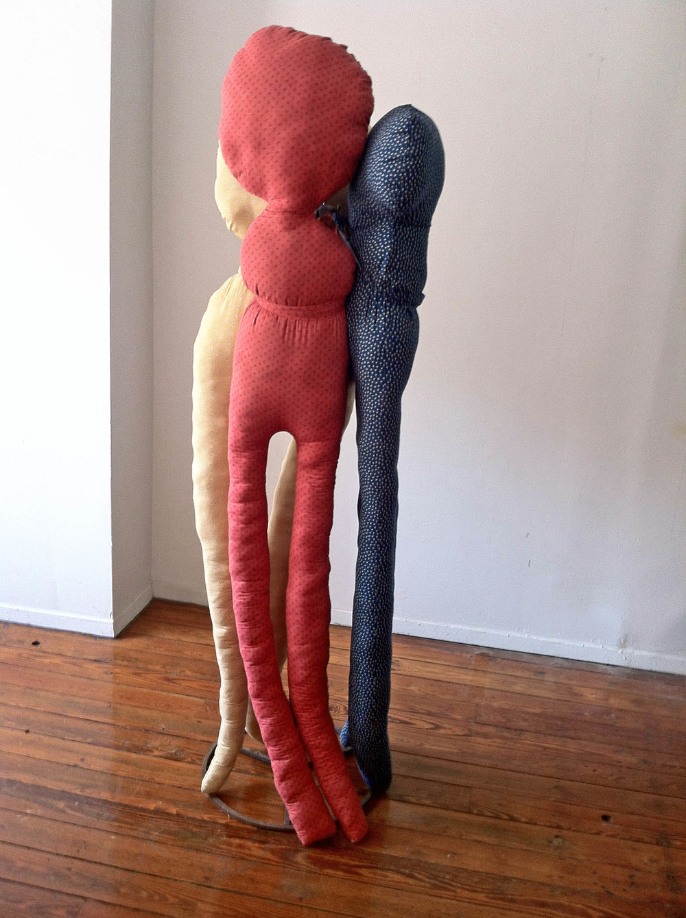 3graces, 2012, Cotton, polyester, steel and birdseed, 5 x 2 x 2 feet