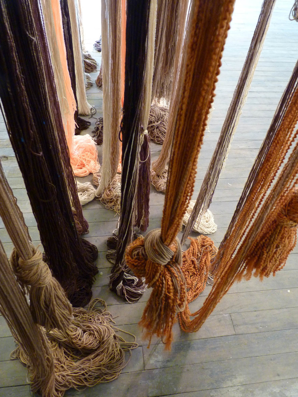 A Valence, 2012, Yarn, wood, poly-fil and hardware, 10 x 2 x 10 feet (Detail)