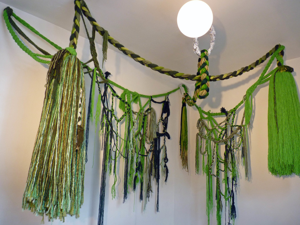 Green Piece, 2011, Acrylic yarn and tin foil, 7' x 8' x 9' (Installation commissioned by Norte Maar)