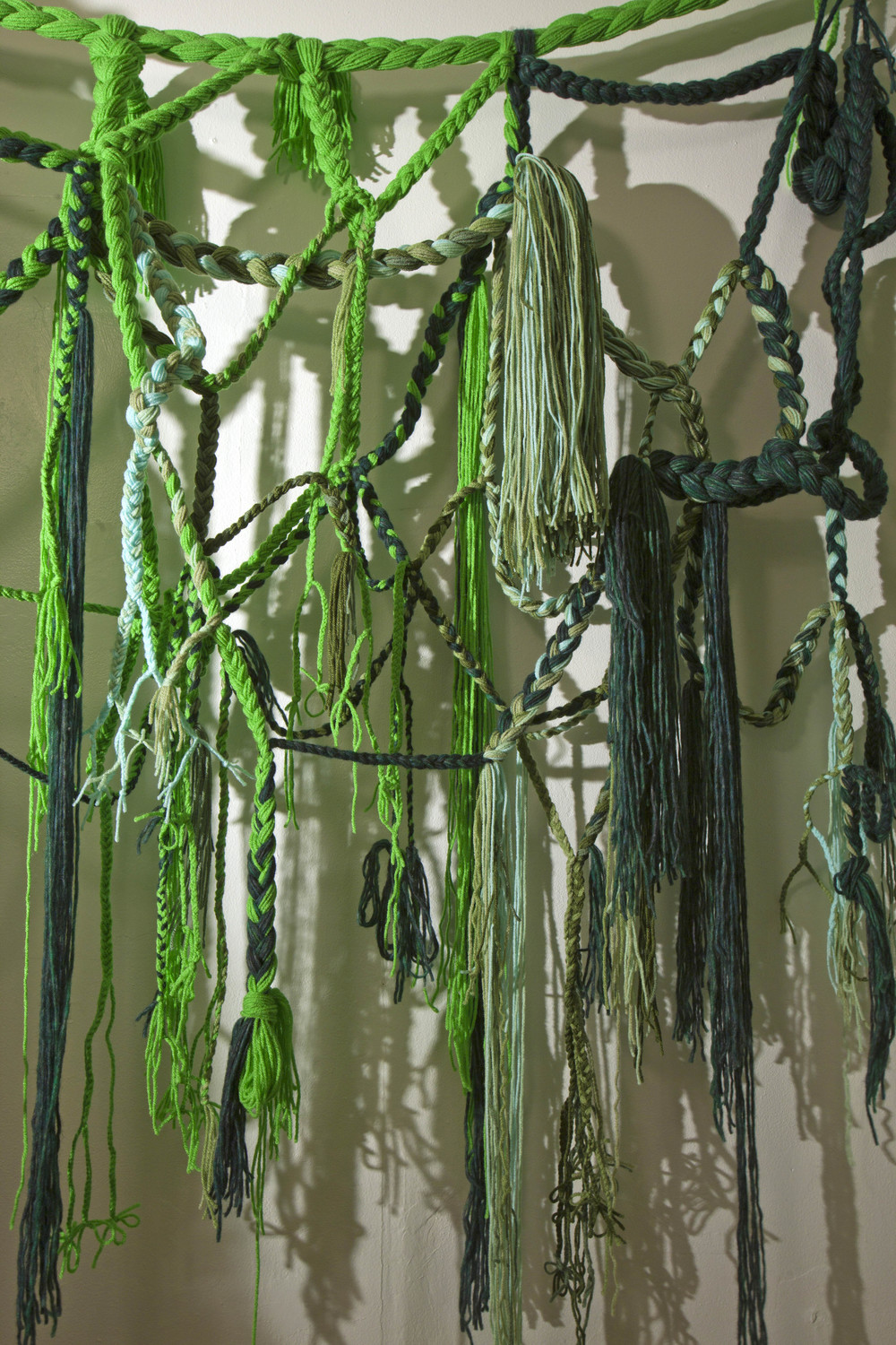 Green Piece, 2011, Acrylic yarn and tin foil, 7' x 8' x 9' (Detail)