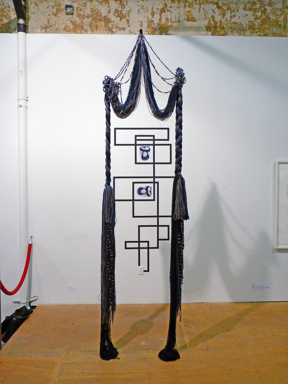 Rico Gatson and Ellie Murphy, Untitled 2010, Gaffers tape, inkjet prints, Acrylic and wool yarn, plastic pony beads, monofilament fishing line, 3' x 11' x 3' (Installtion from Collective Show)