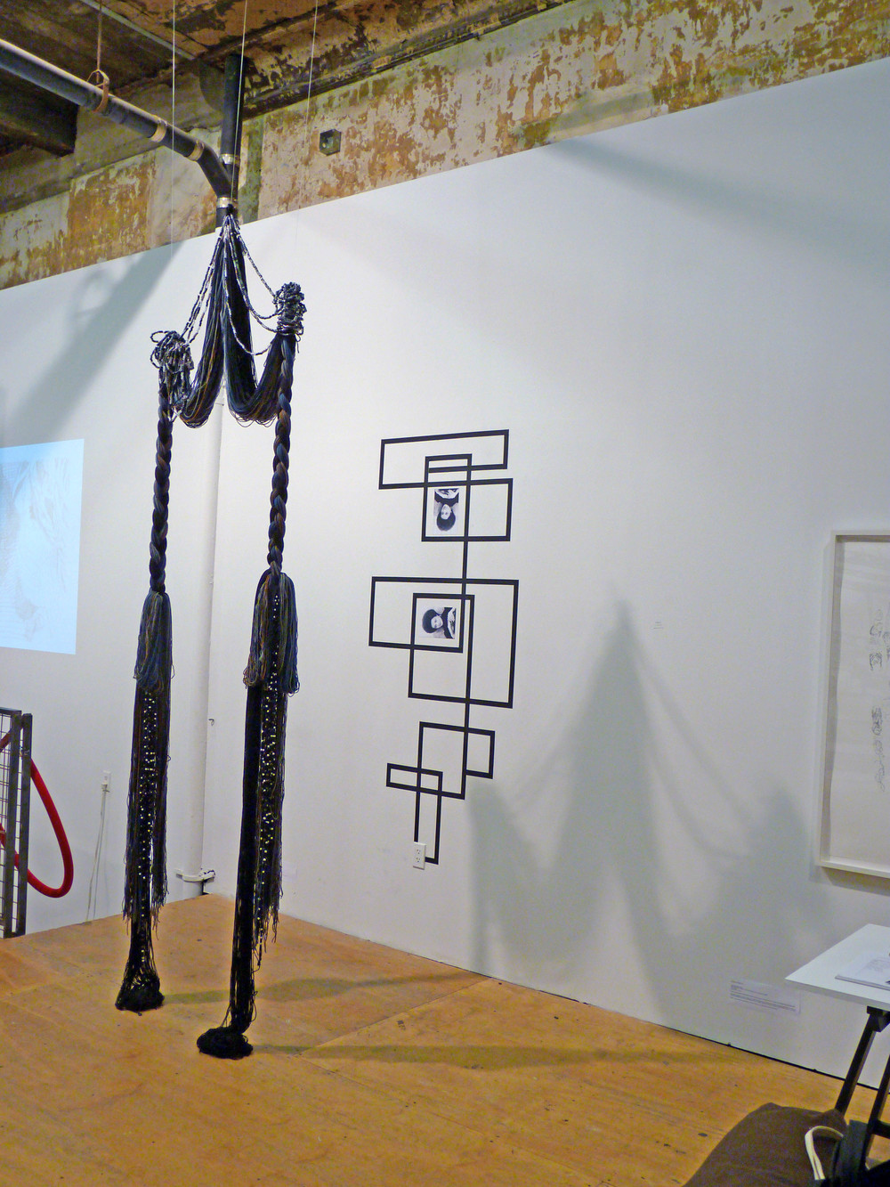 Rico Gatson and Ellie Murphy, Untitled, 2010, Gaffers tape, inkjet prints, Acrylic and wool yarn, plastic pony beads, monofilament fishing line, 3' x 11' x 3' (Installtion from Collective Show)