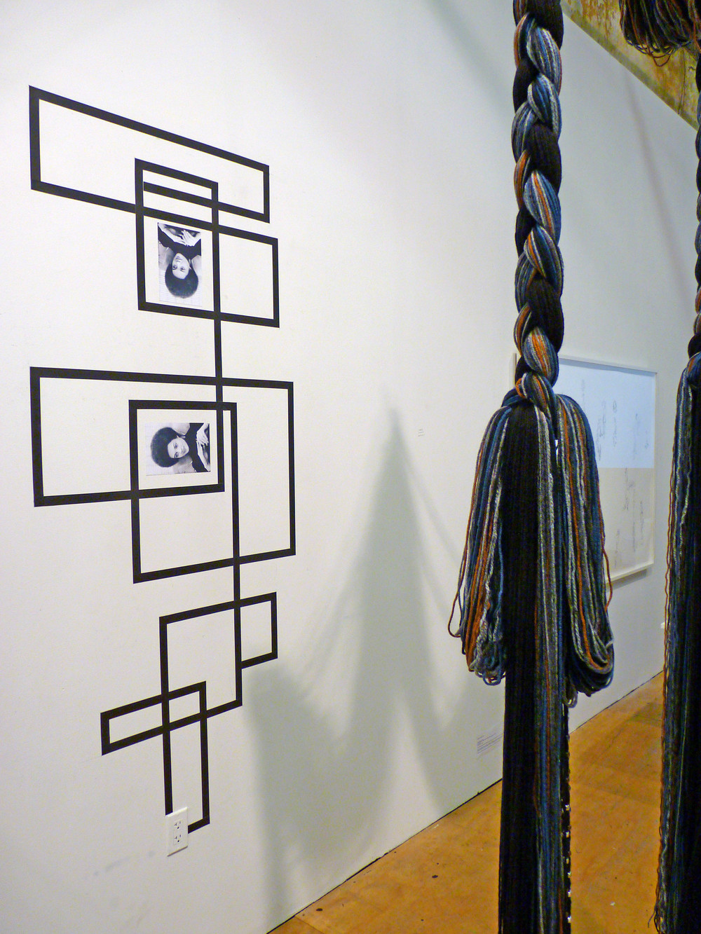 Rico Gatson and Ellie Murphy Untitled, 2010, Gaffers tape, inkjet prints, Acrylic and wool yarn, plastic pony beads, monofilament fishing line, 3' x 11' x 3' (Detail from Collective Show)