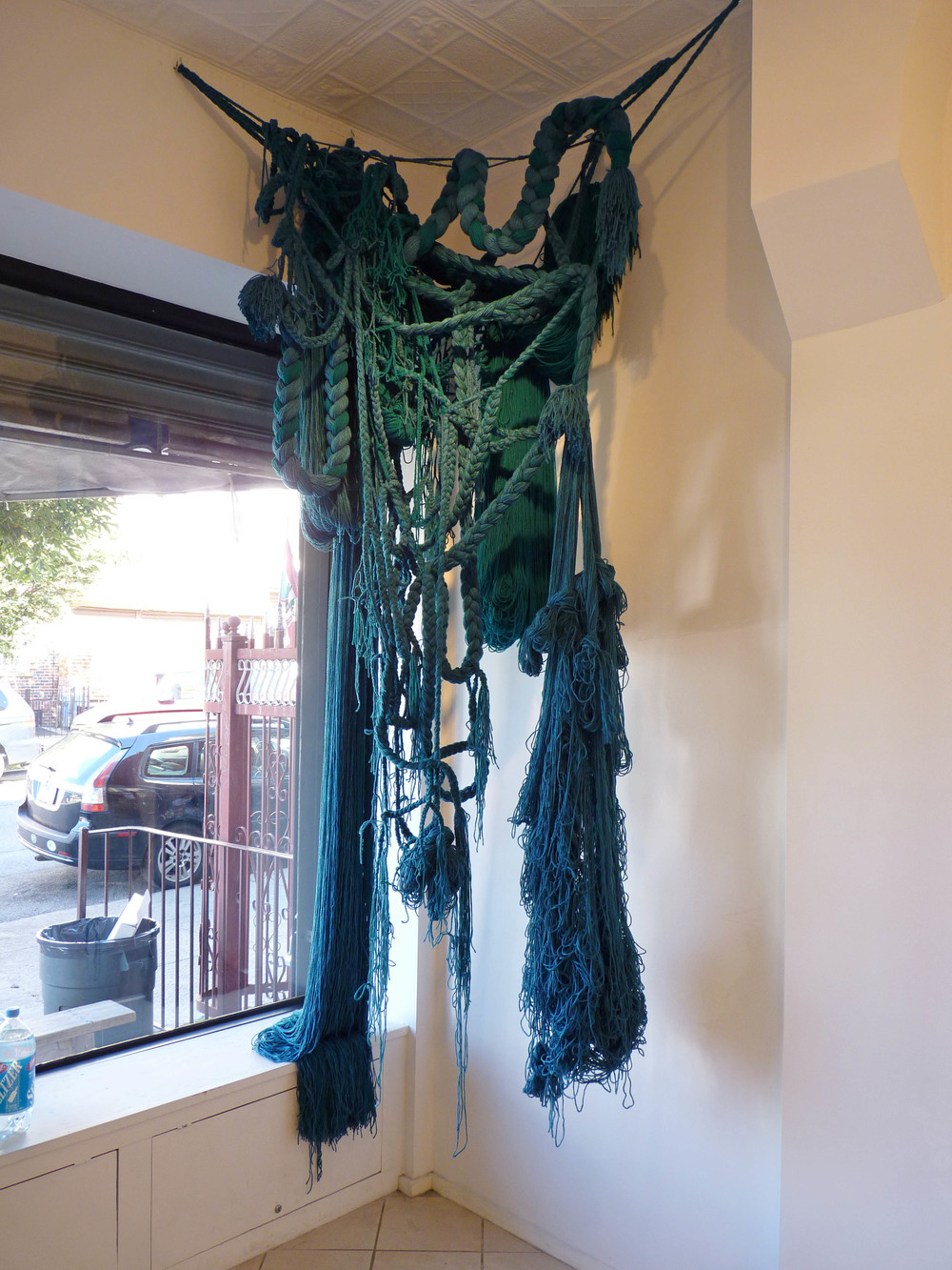 The Falls, 2010, Acrylic yarn, 5' x 3' x 9' (Installation)