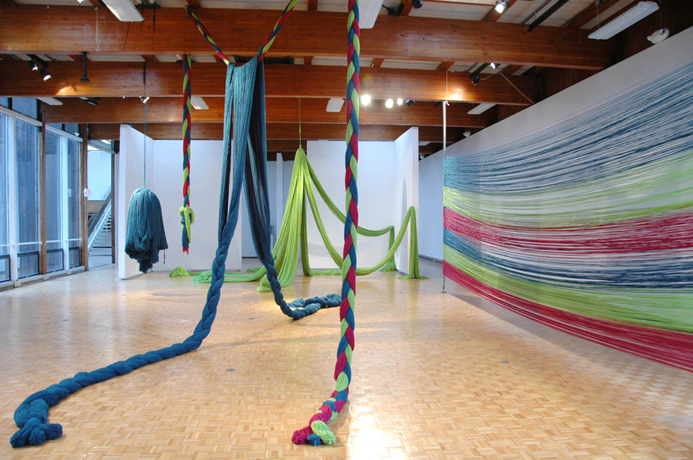 A Work in Progress: TRIM (Installation at Usdan Gallery, Bennington College), 2010, Acrylic yarn, 14' x 40' x 80' (Installation with video)