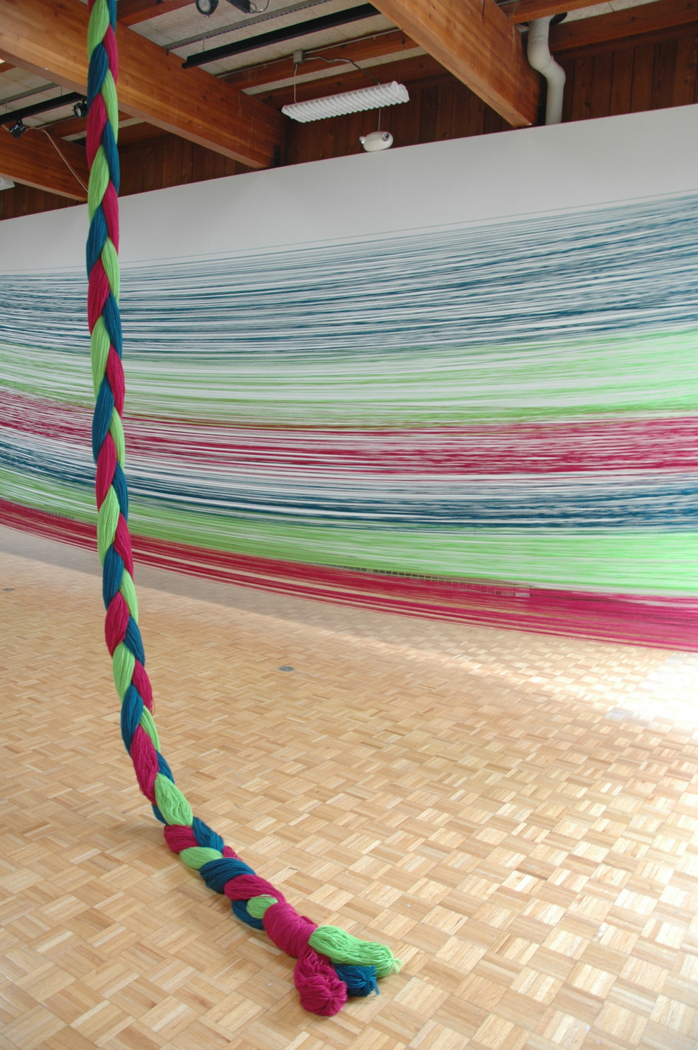 A Work in Progress: TRIM (Installation at Usdan Gallery, Bennington College), 2010, Acrylic yarn, 14' x 40' x 80' (Detail)
