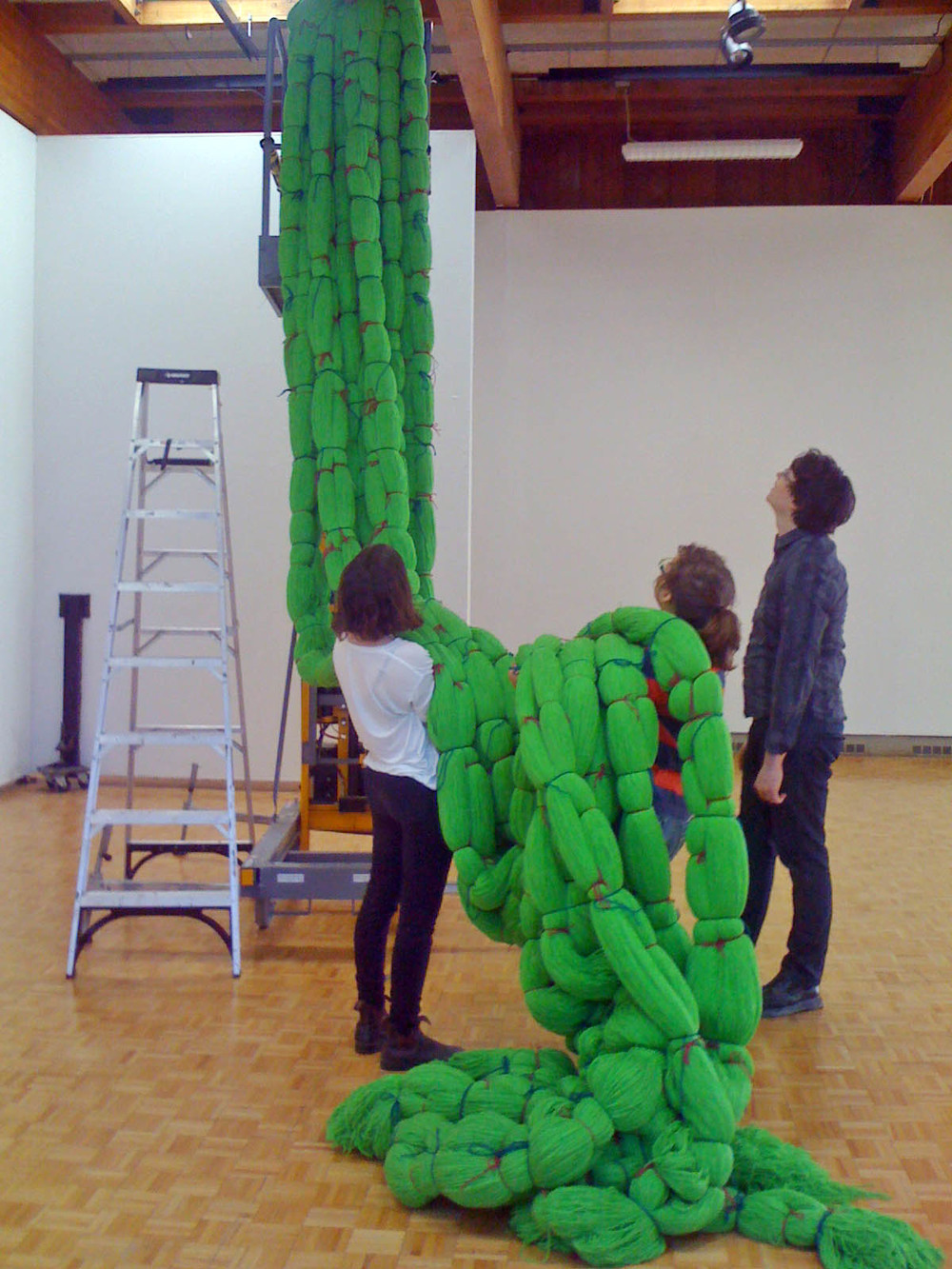 A Work in Progress: TRIM (Installation at Usdan Gallery, Bennington College), 2010, Acrylic yarn, 14' x 40' x 80' (Work in progress)