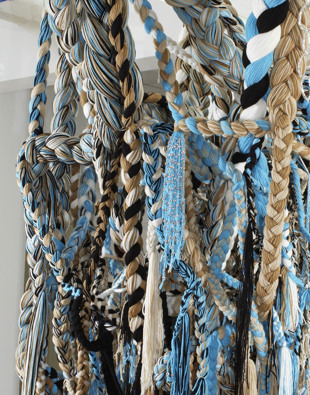 SQUASHblossom, 2007, Acrylic yarn, beads, tin foil, 5 x 6 x 7 feet (Detail)