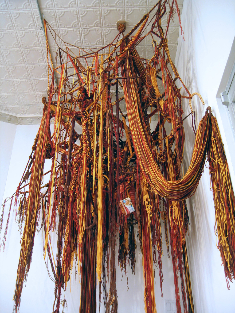 Indian Corn 2007 Acrylic yarn, clay, cork, fabric, bamboo and cans 7 x 6 x 11 feet (Detail)