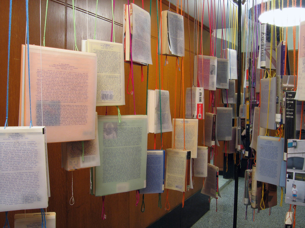 bioGRAPHY: A Site Specific Project for the Brooklyn Public Library, 2005, 60 library books, paper, photo, yarn, tape and metal, 7 x 4 x 11' (Detail)