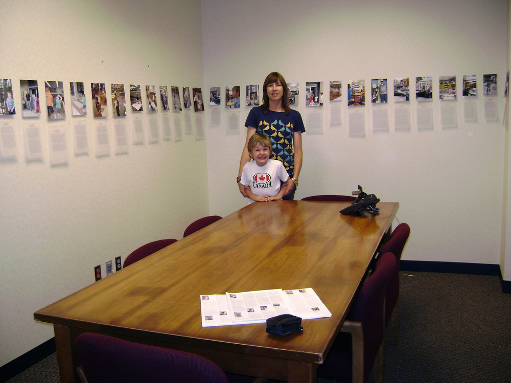 bioGRAPHY, 2007, Ink jet on matte photo paper and vellum, 60 photos and 60 pieces of writing, (Dimensions variable installed at Grassmacks Gallery Minnesota)