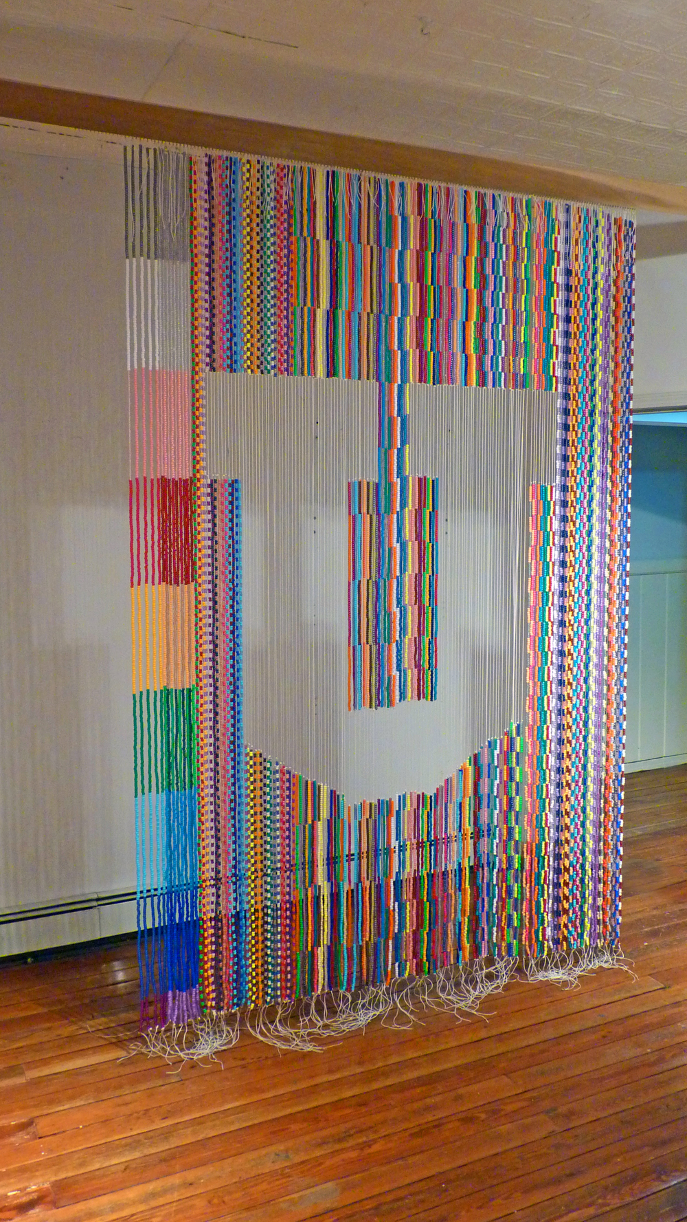 "Untitled (The Big ""U""), 2009, Plastic beads, nylon, metal and wood, 6' x 8'"
