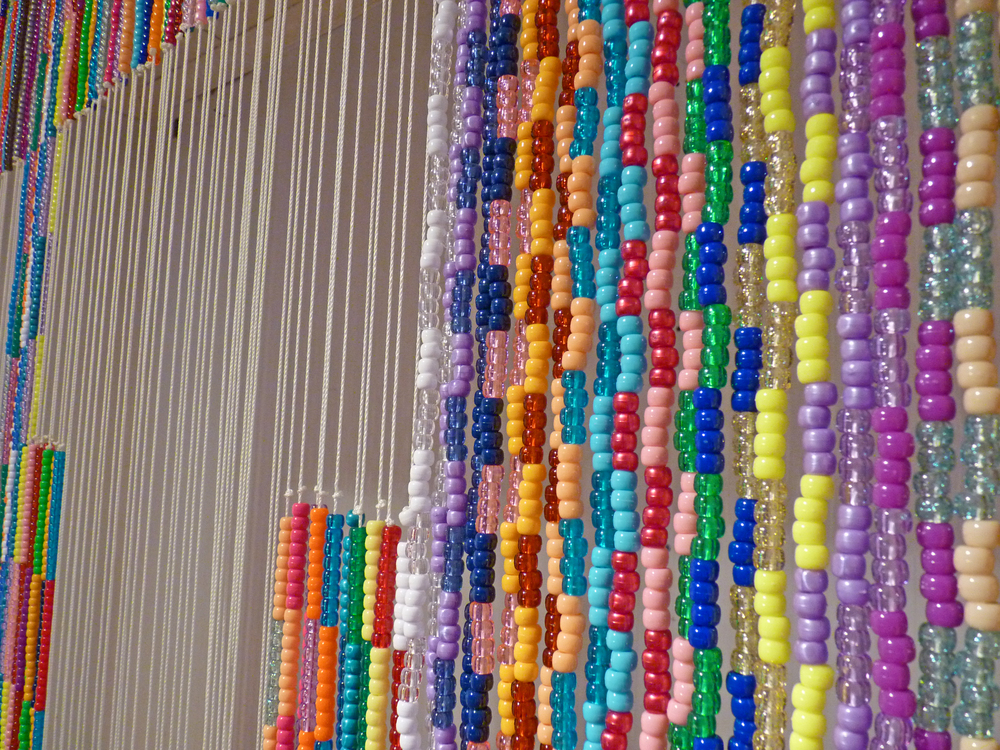 "Untitled (The Big ""U""), 2009 Plastic beads, nylon, metal and wood, 6' x 8' (Detail)"
