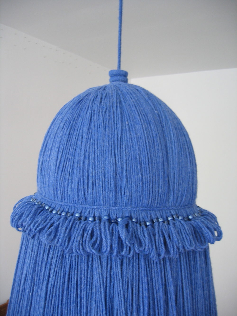 Tassels, 2006, Acrylic yarn and beads with nylon rope, 3 pieces each around 1.5' x 7' (Detail)