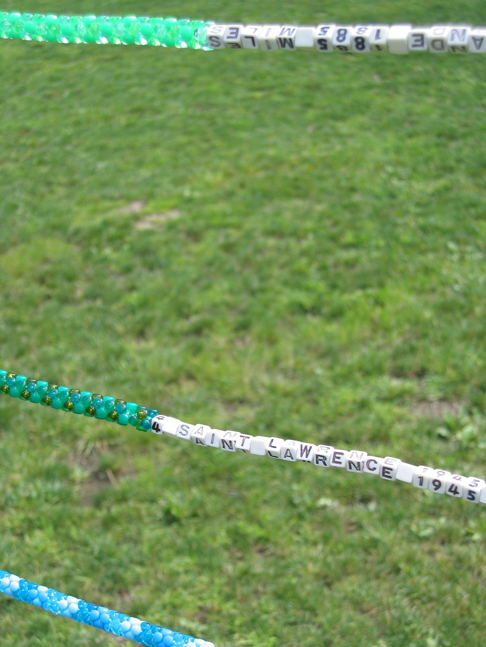 River Abacus, 2004, Fiberglass, nylon, plastic beads and cement, 16 x 20' (Detail)